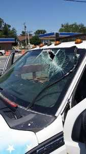A car that needs windshield glass replacement in Glen Burnie, MD